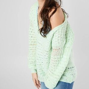 Free People Crashing Wave Mint Green Sweater 2043